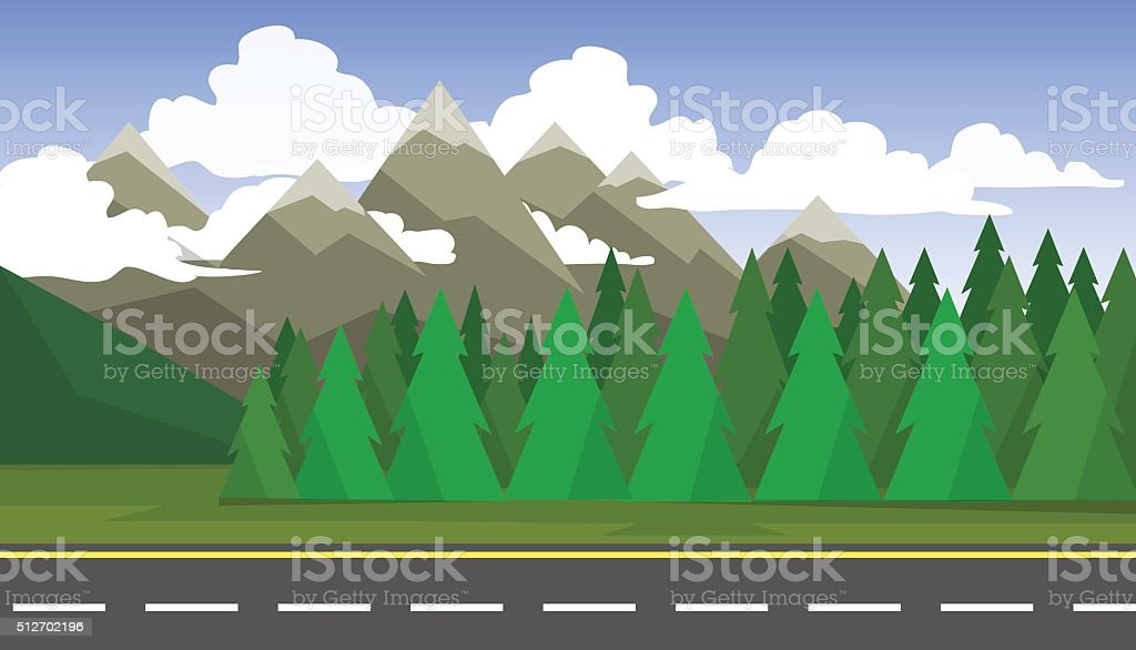 The landscape of forests, mountains and roads vector art illustration