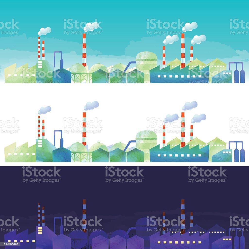 the landscape of industrial area vector art illustration
