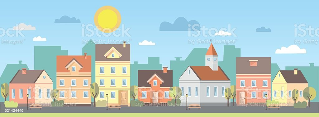 The landscape of the historic city vector art illustration