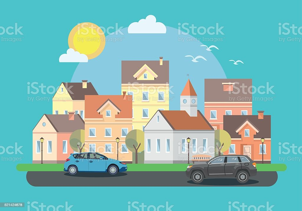 The landscape of the historic city with cars vector art illustration