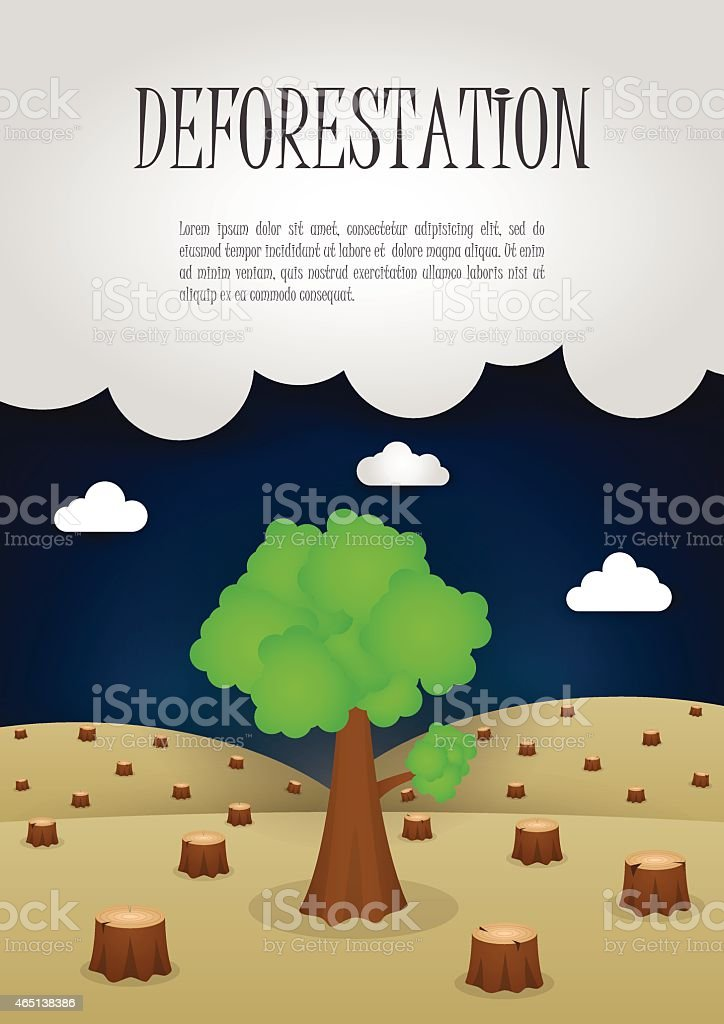 The last remaining trees in the forest, Nature issue deforestation concept vector art illustration