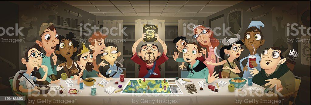 The Last RPG Club Meeting vector art illustration