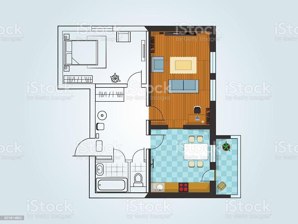 the layout of the apartment vector art illustration