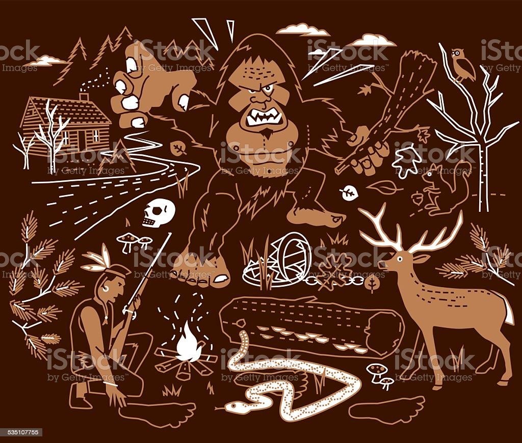 The Legend of Bigfoot vector art illustration