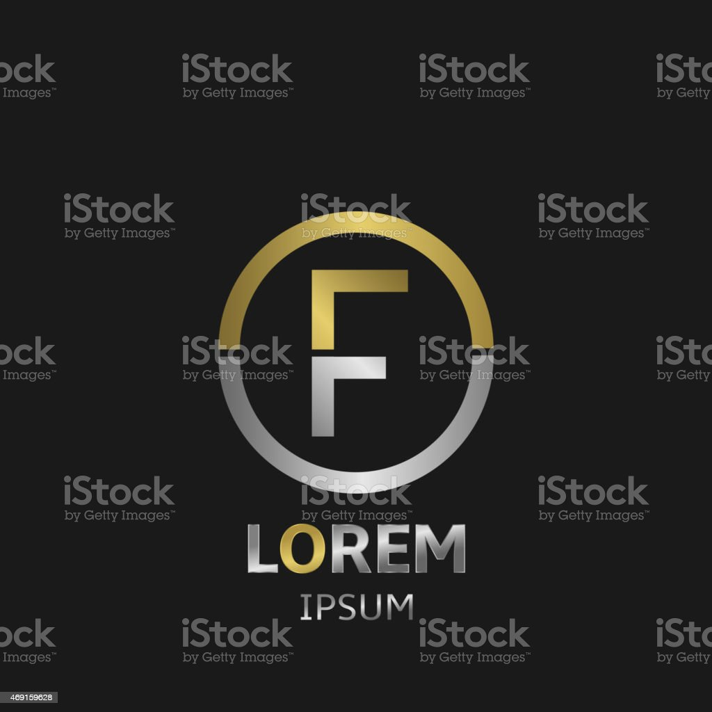 The letter f in gold and silver vector art illustration