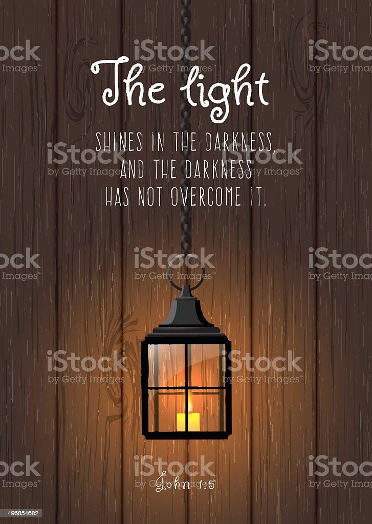The light shines in the darkness... Biblical quote. Vintage shining vector art illustration