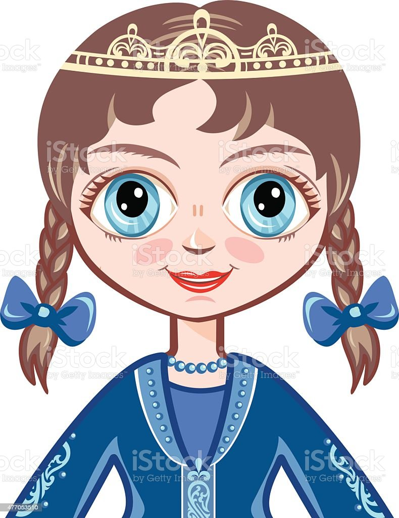 the little Princess in a blue ball dress vector art illustration