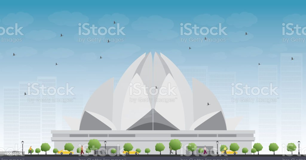The Lotus Temple, located in New Delhi, India vector art illustration