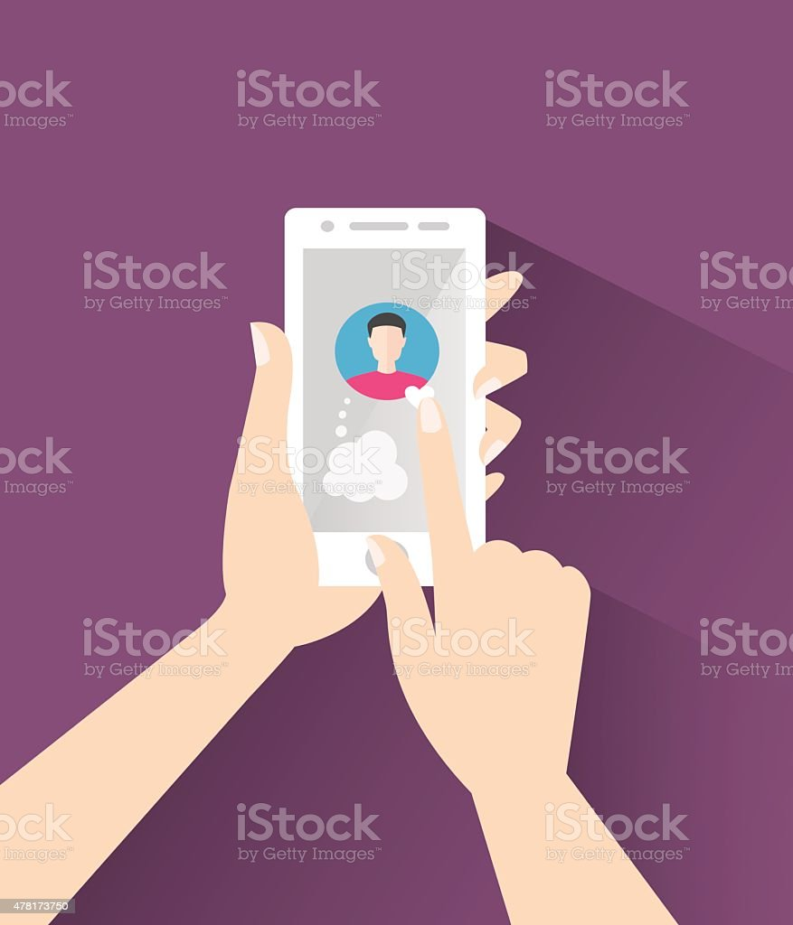 The man holding the smartphone puts a heart on avatar vector art illustration