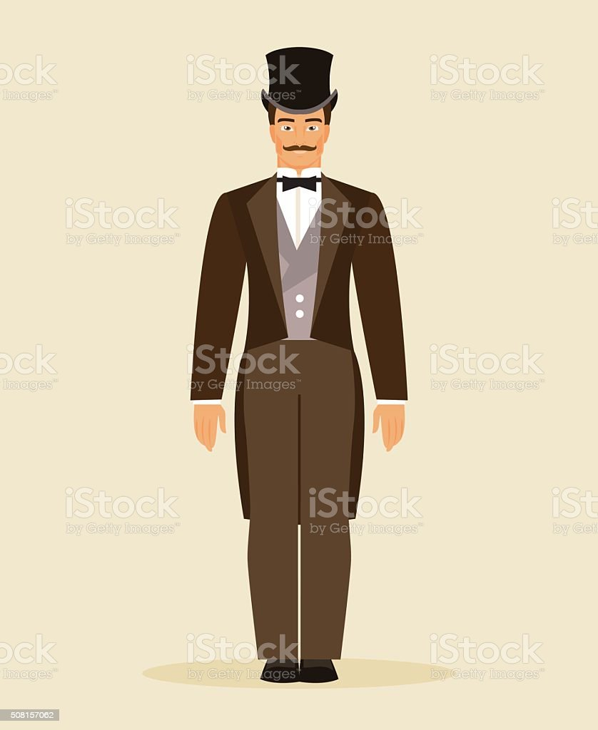 The man of the nineteenth century. Vector Illustration vector art illustration