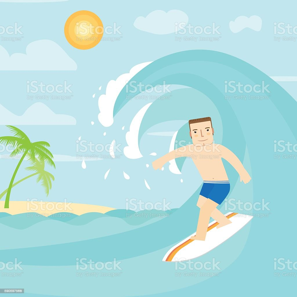 The man surfing on the ocean. vector art illustration