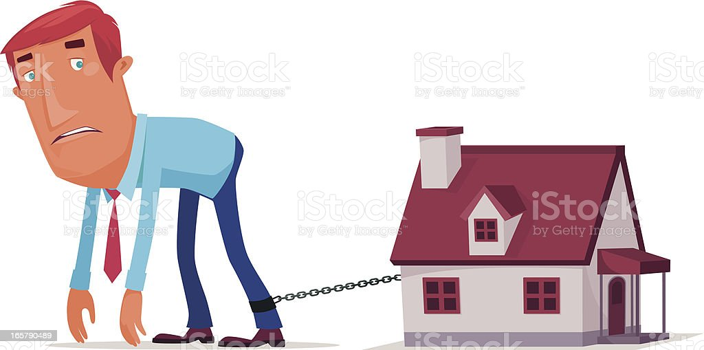 The man tired of being imprisoned in the house vector art illustration