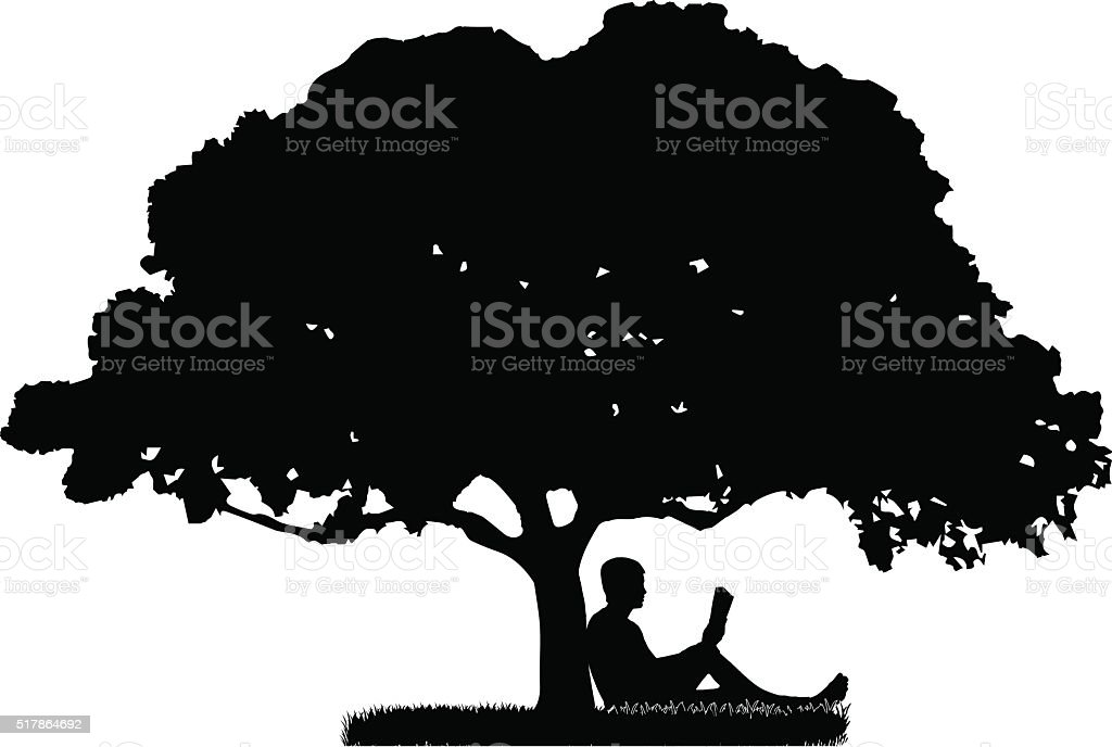 The man who is sitting under a tree vector art illustration