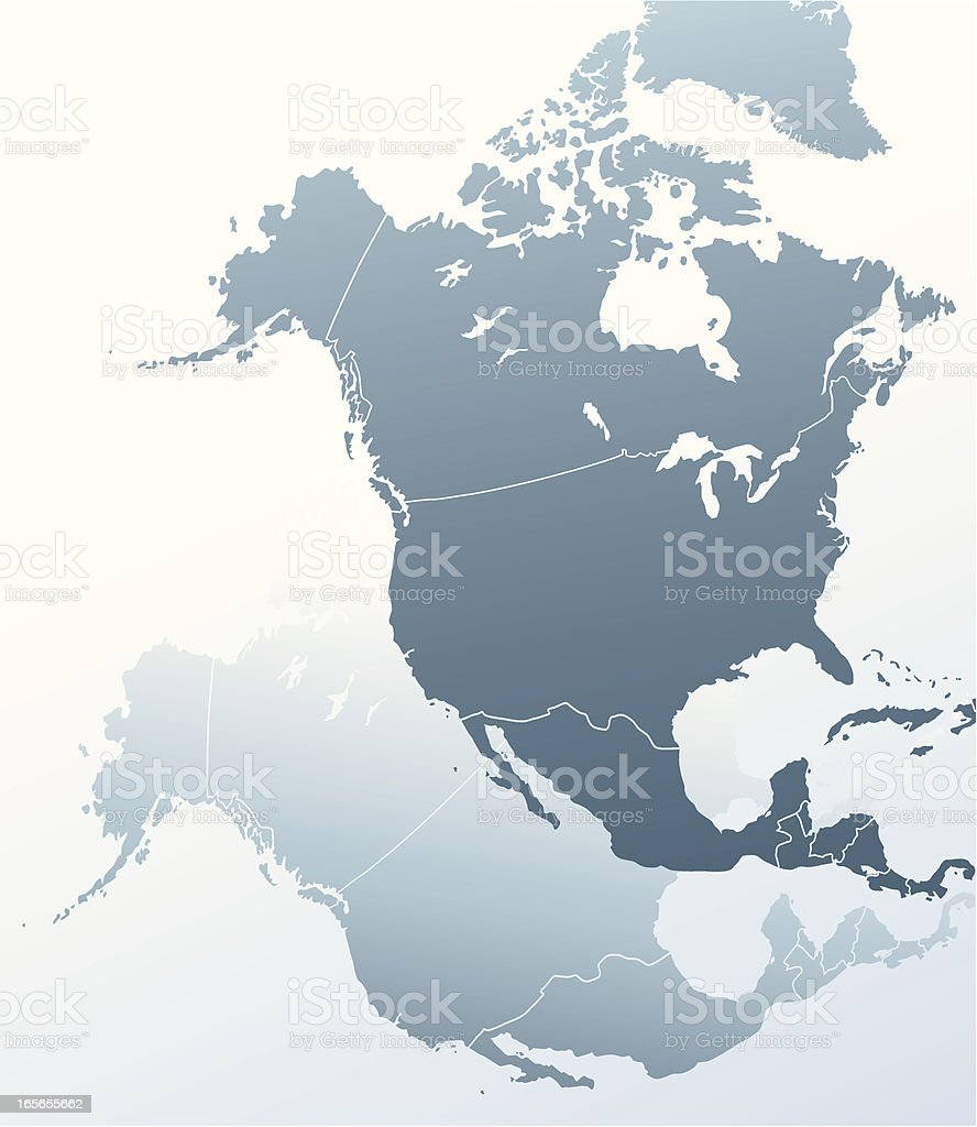 The map of North America. royalty-free stock vector art
