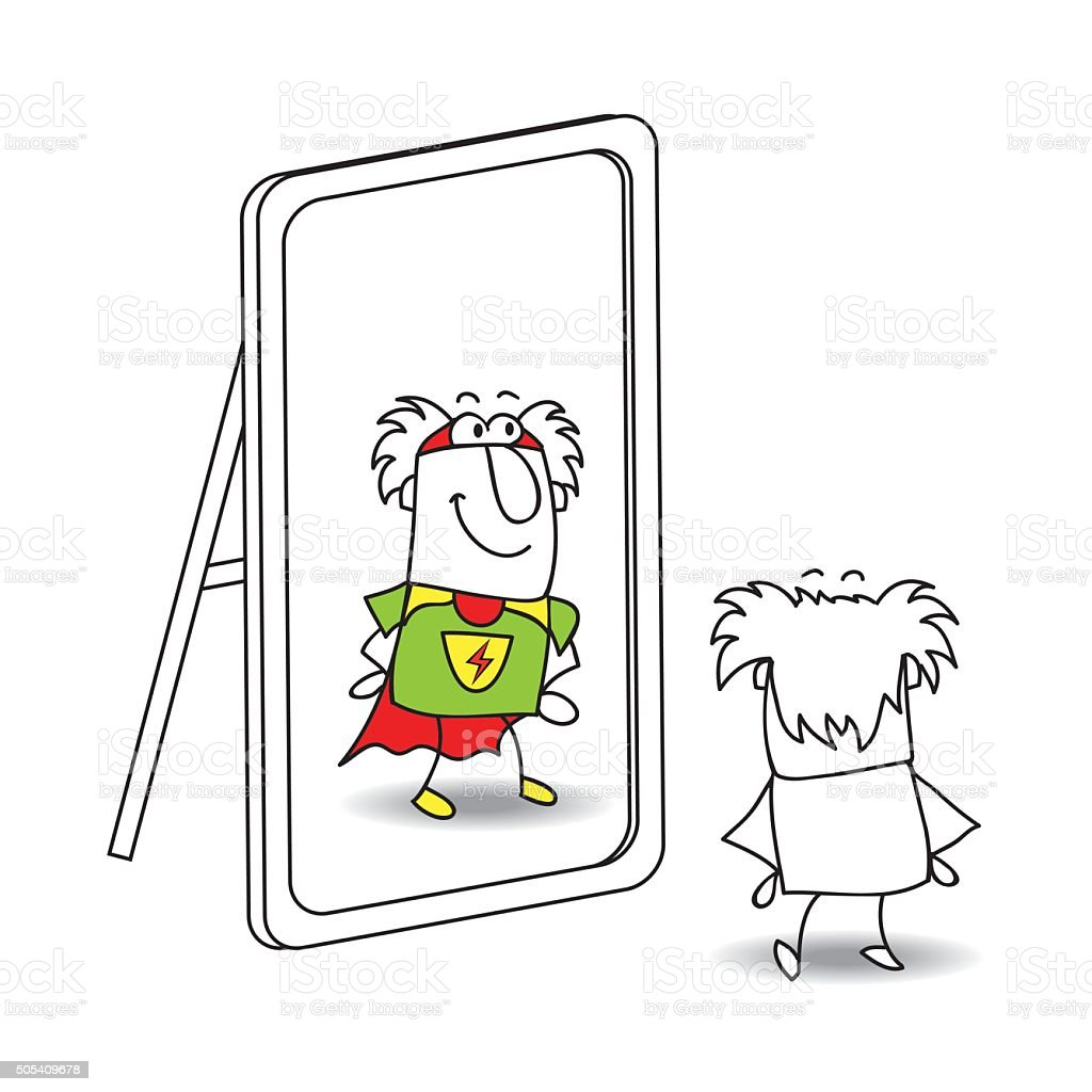 The mirror and Grandfather superhero vector art illustration