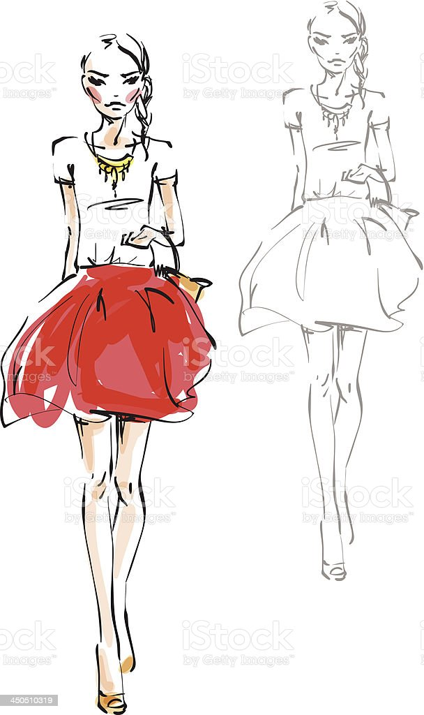 The model in a red skirt vector art illustration