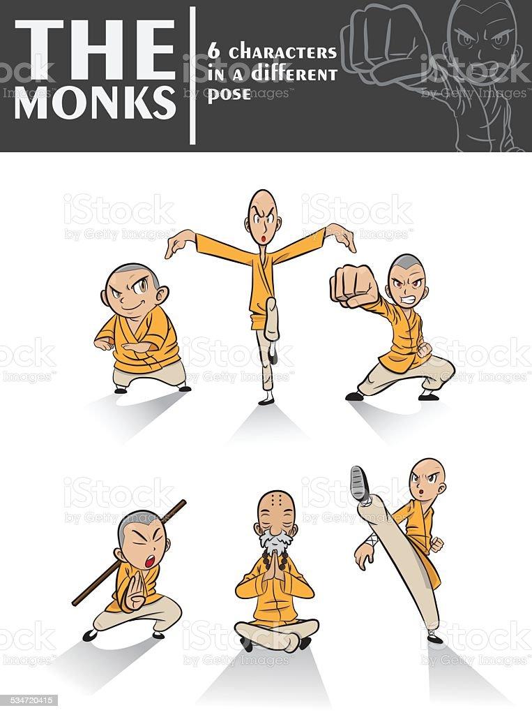 The monks vector art illustration