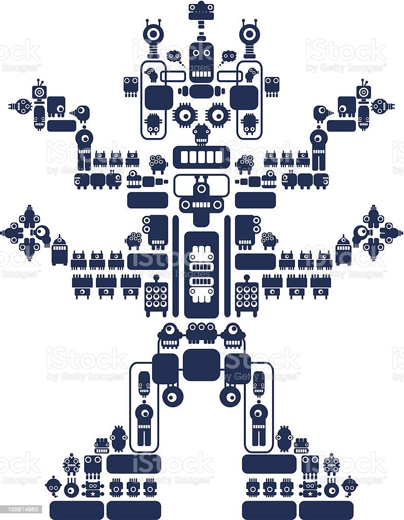 The monster made of small robots #1. vector art illustration