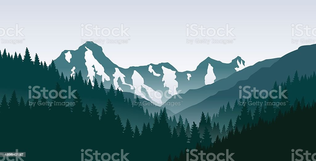 The morning in mountains. vector art illustration