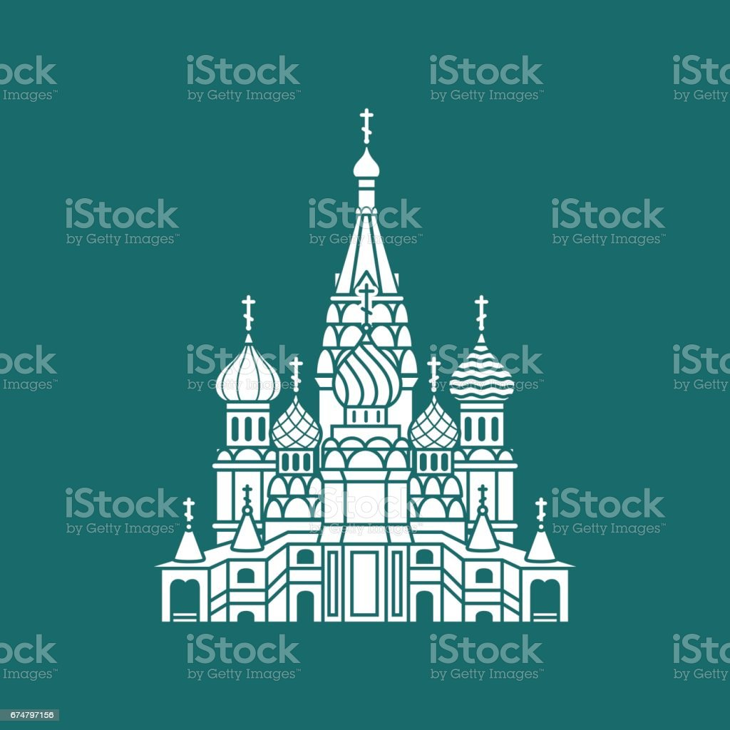 The Most Famous cathedral In Moscow, Saint Basil's Cathedral, Russia vector art illustration
