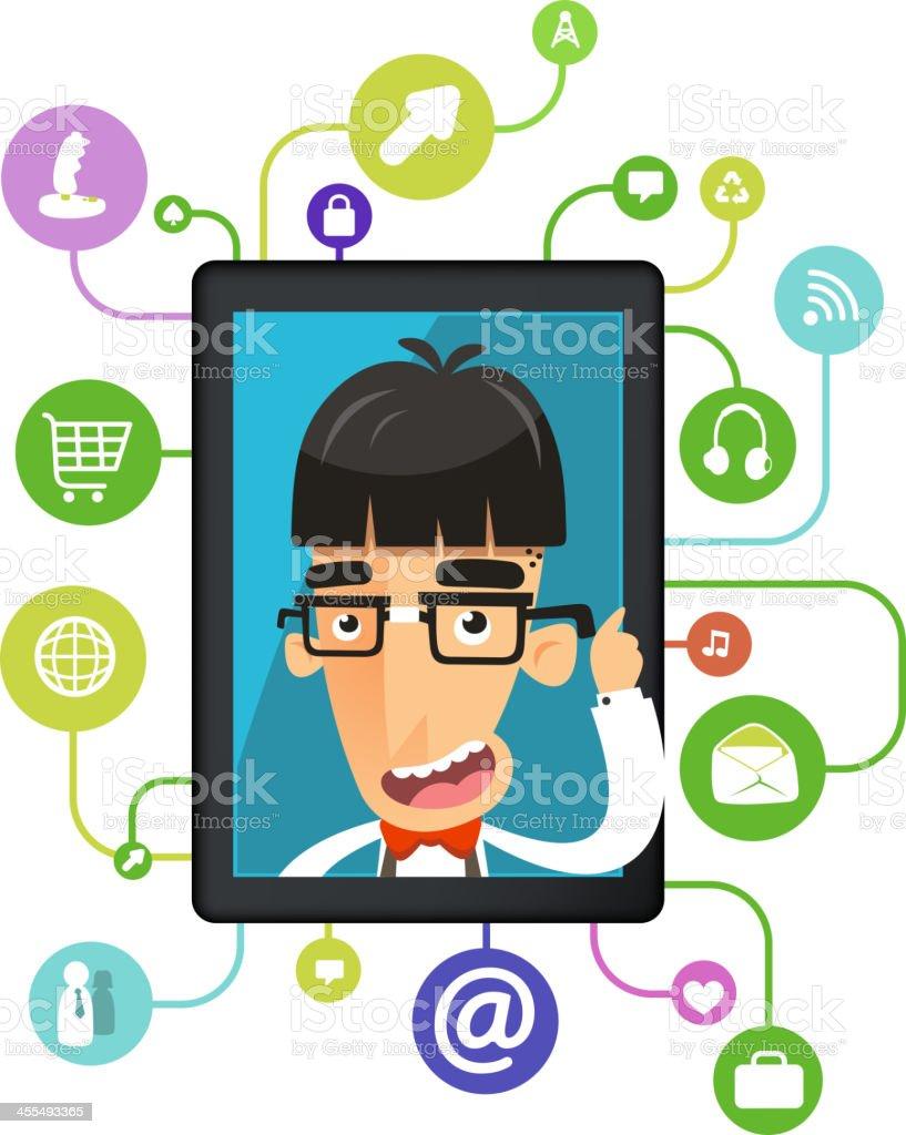 The most intelligent analyzing brain app nerd eccentric nerds geek vector art illustration