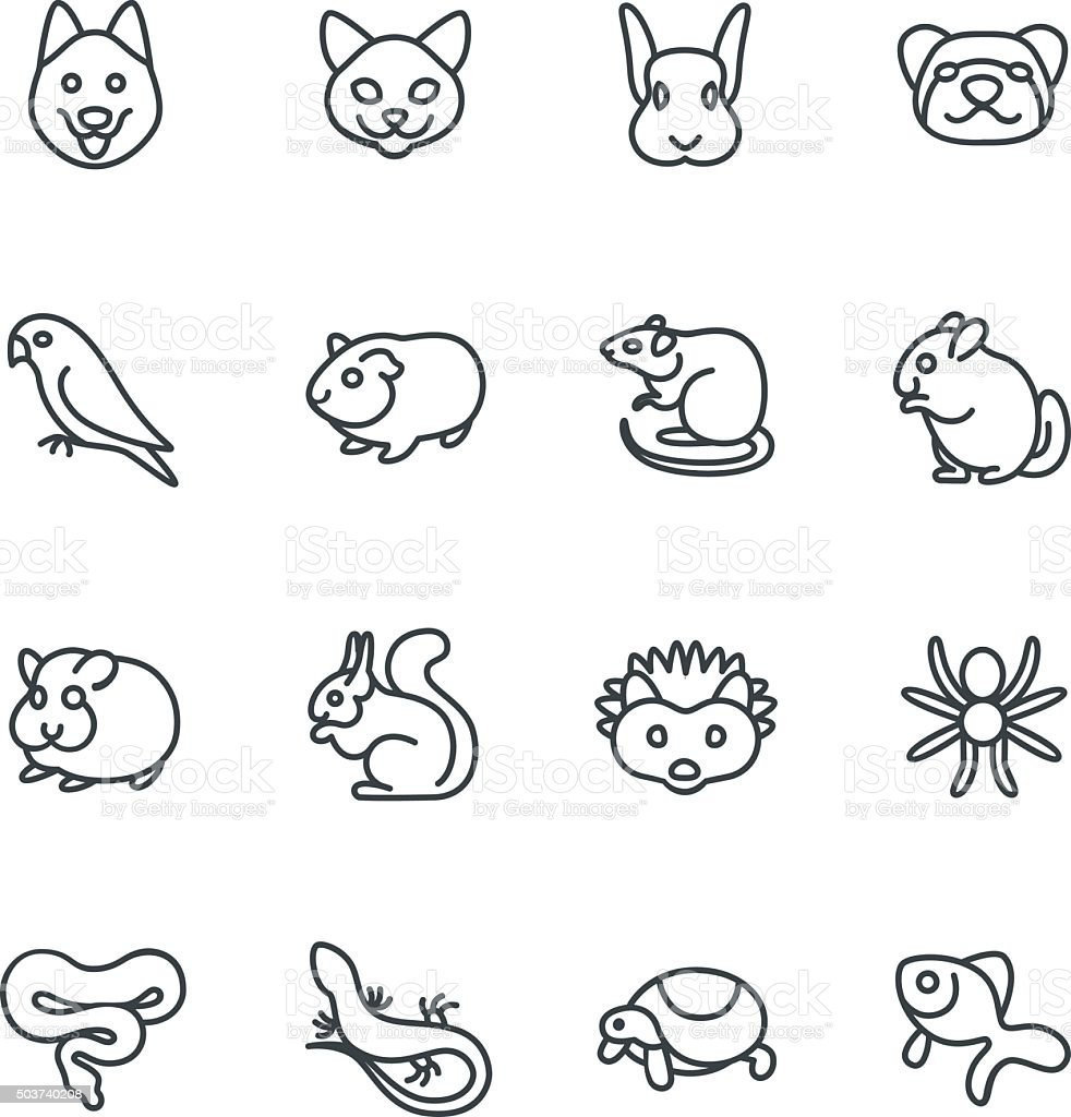 The most popular pets as line icons vector art illustration