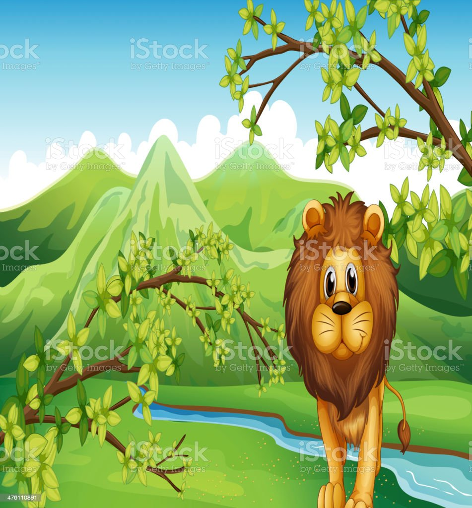 The mountain view with a lion and river royalty-free stock vector art