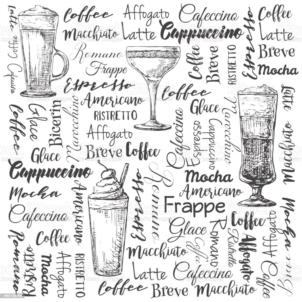 The names of different types of coffee. Different coffee cocktails. Vector illustration of a sketch style. vector art illustration