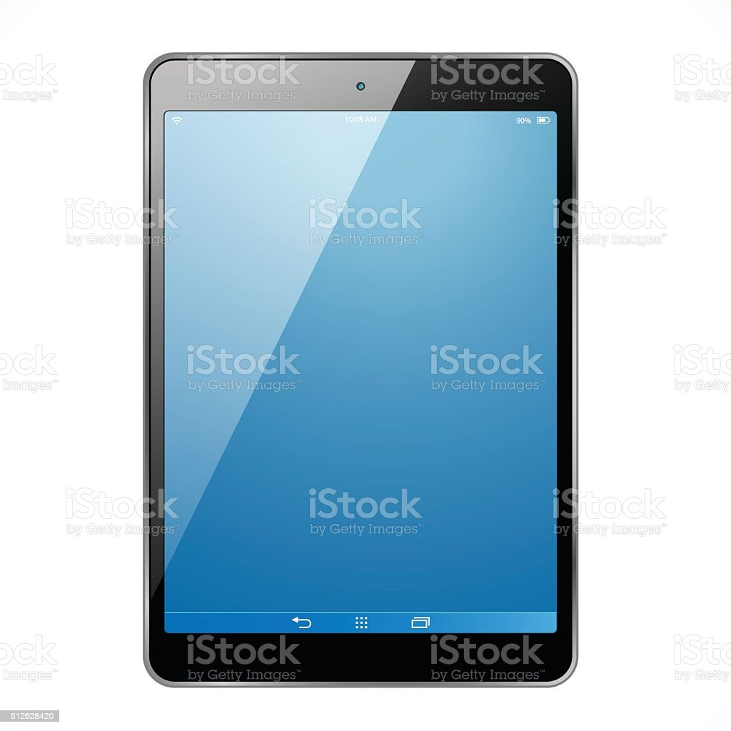 The new tablet with blue screen vector art illustration