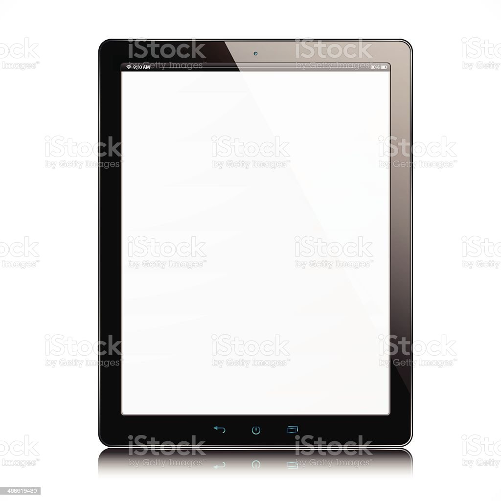 The new tablet with white screen vector art illustration