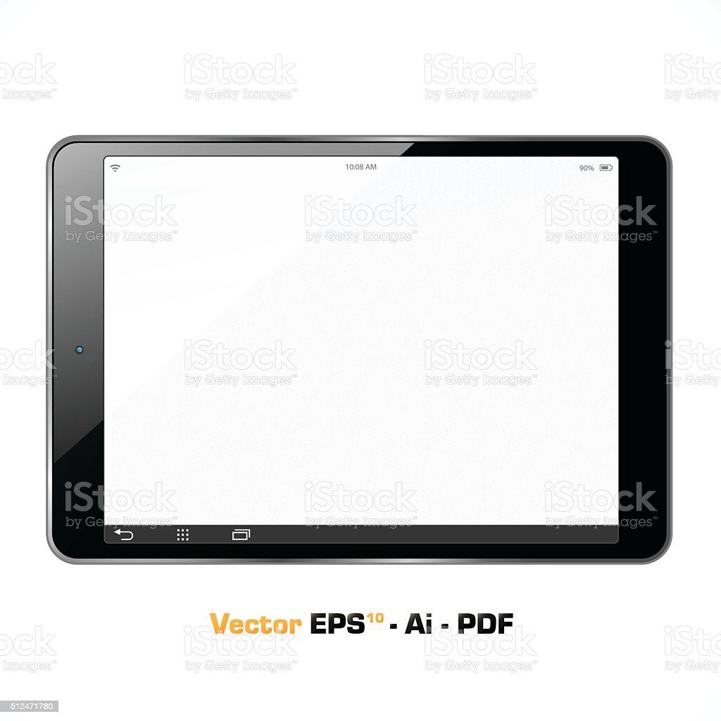 The new wide tablet with white screen vector art illustration