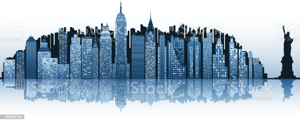 The New York City skyline with the Statue of Liberty royalty-free stock vector art