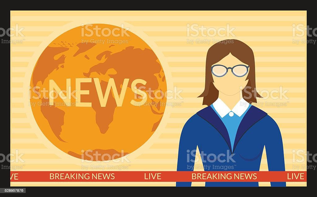 The news on screen TV vector art illustration