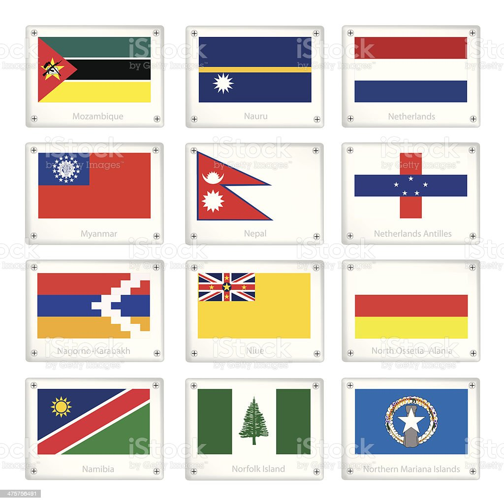 The Official National Flags on Metal Texture Plates vector art illustration
