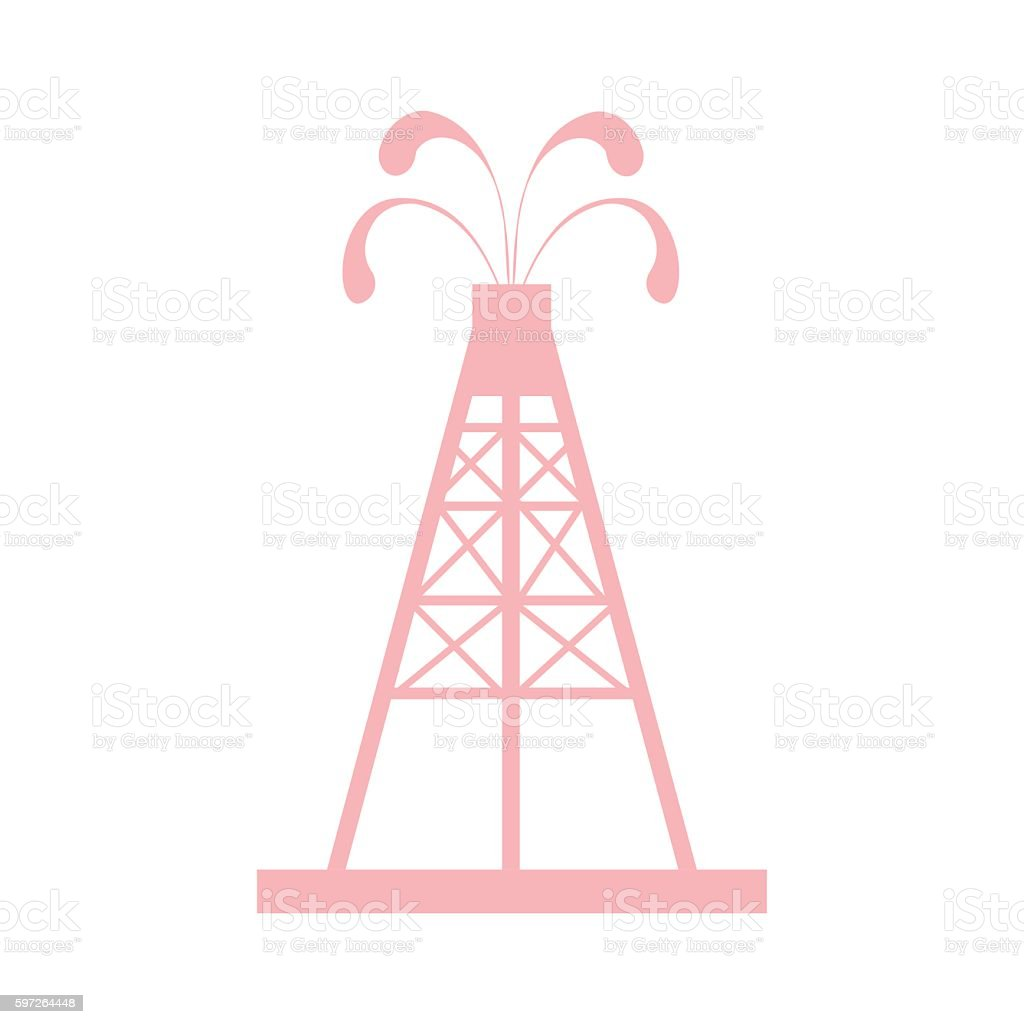 the oil rig with fountains spurting up oil with oil vector art illustration