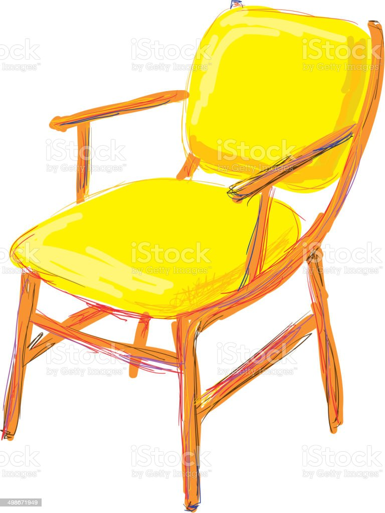 The old chair. Interior concept vector art illustration