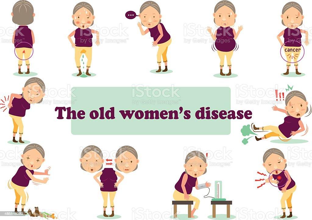 La vecchia donna di malattia illustrazione royalty-free