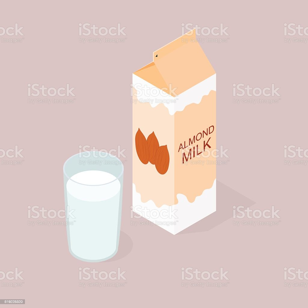 The package of almond milk. The isometry. vector art illustration