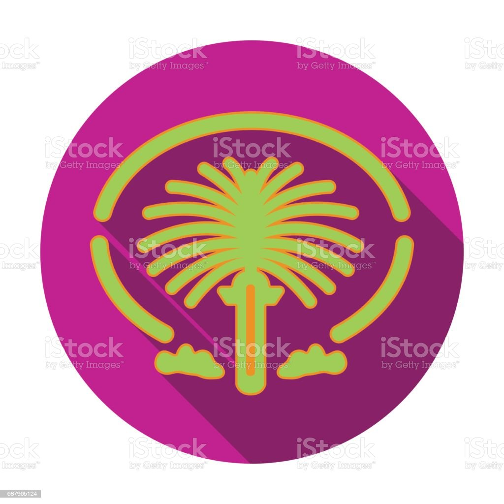 The Palm Jumeirah icon in flat style isolated on white background. Arab Emirates symbol stock vector illustration. vector art illustration