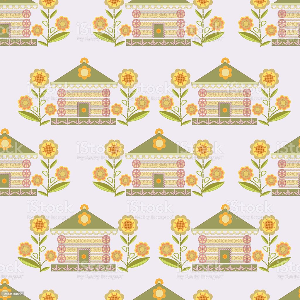 The pattern of houses and flowers stylized ornament green, orang royalty-free stock vector art
