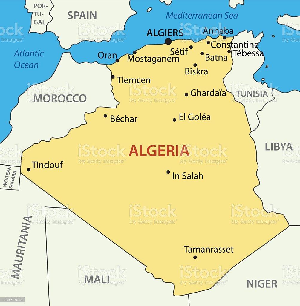 The People's Democratic Republic of Algeria - vector map vector art illustration