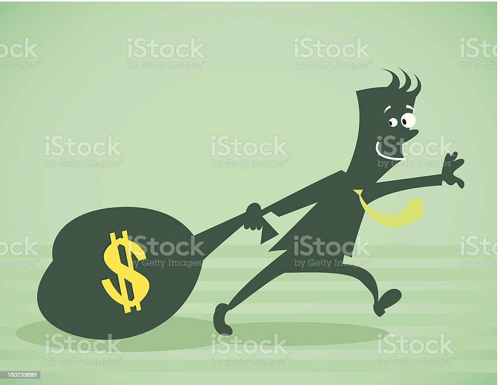The person drags a bag of money royalty-free stock vector art