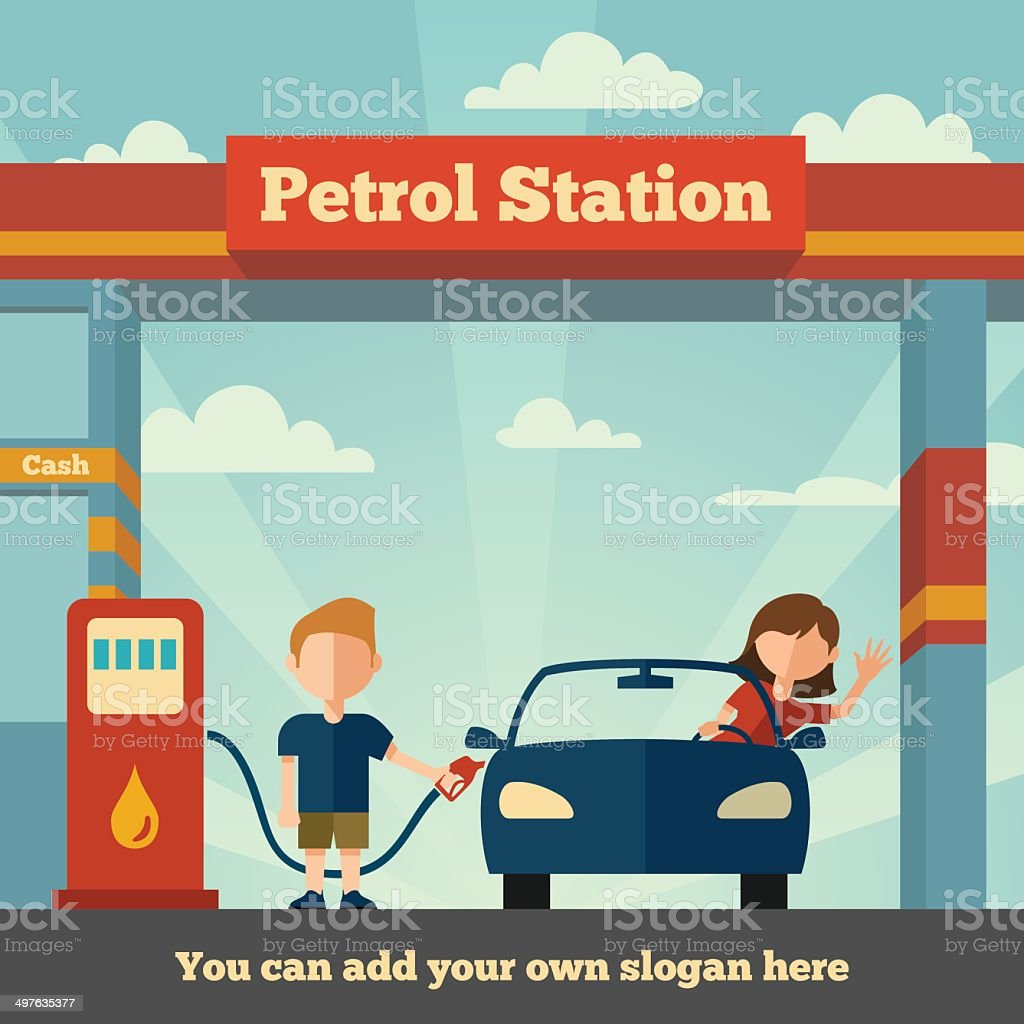 The Petrol station vector art illustration