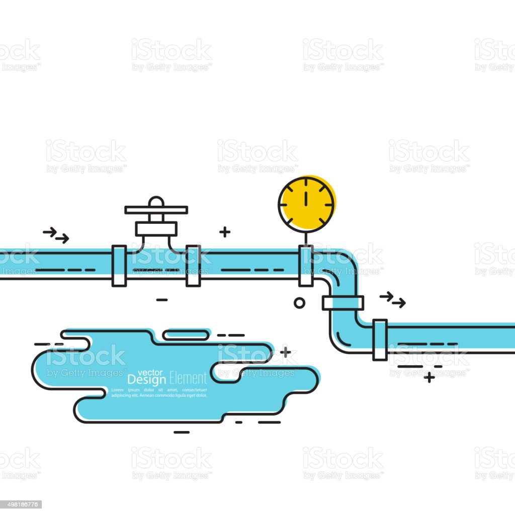 The pipeline with a stopcock vector art illustration