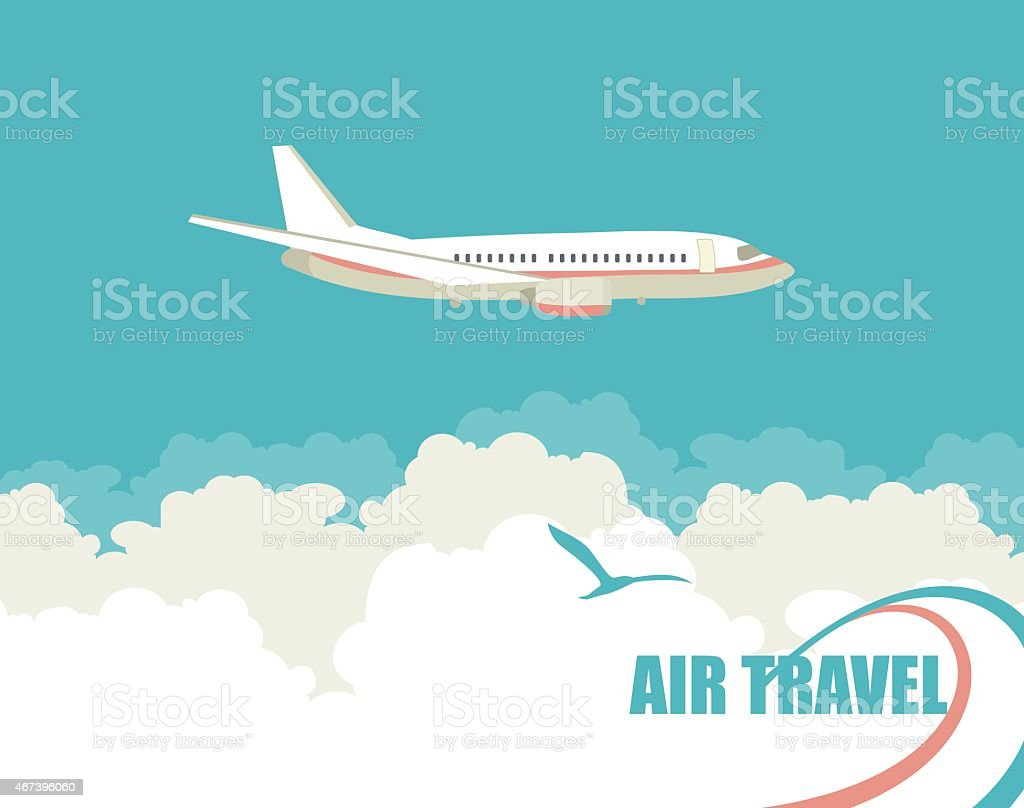 The plane flies against the sky vector art illustration