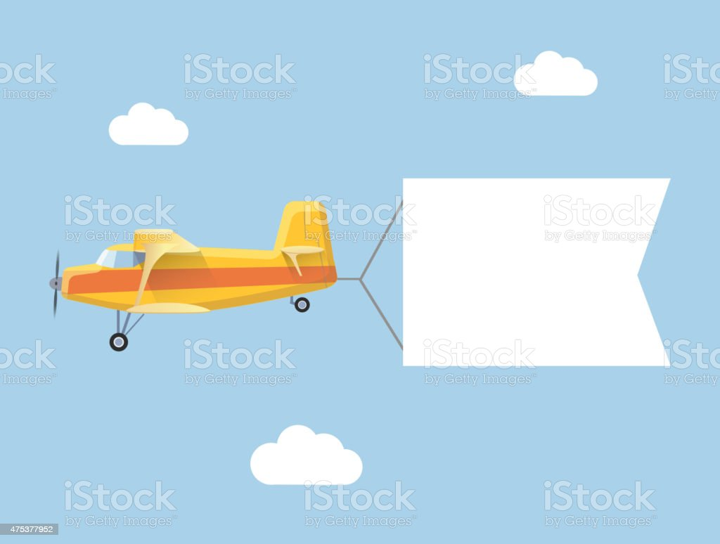 The plane flies with long banners for your text on vector art illustration