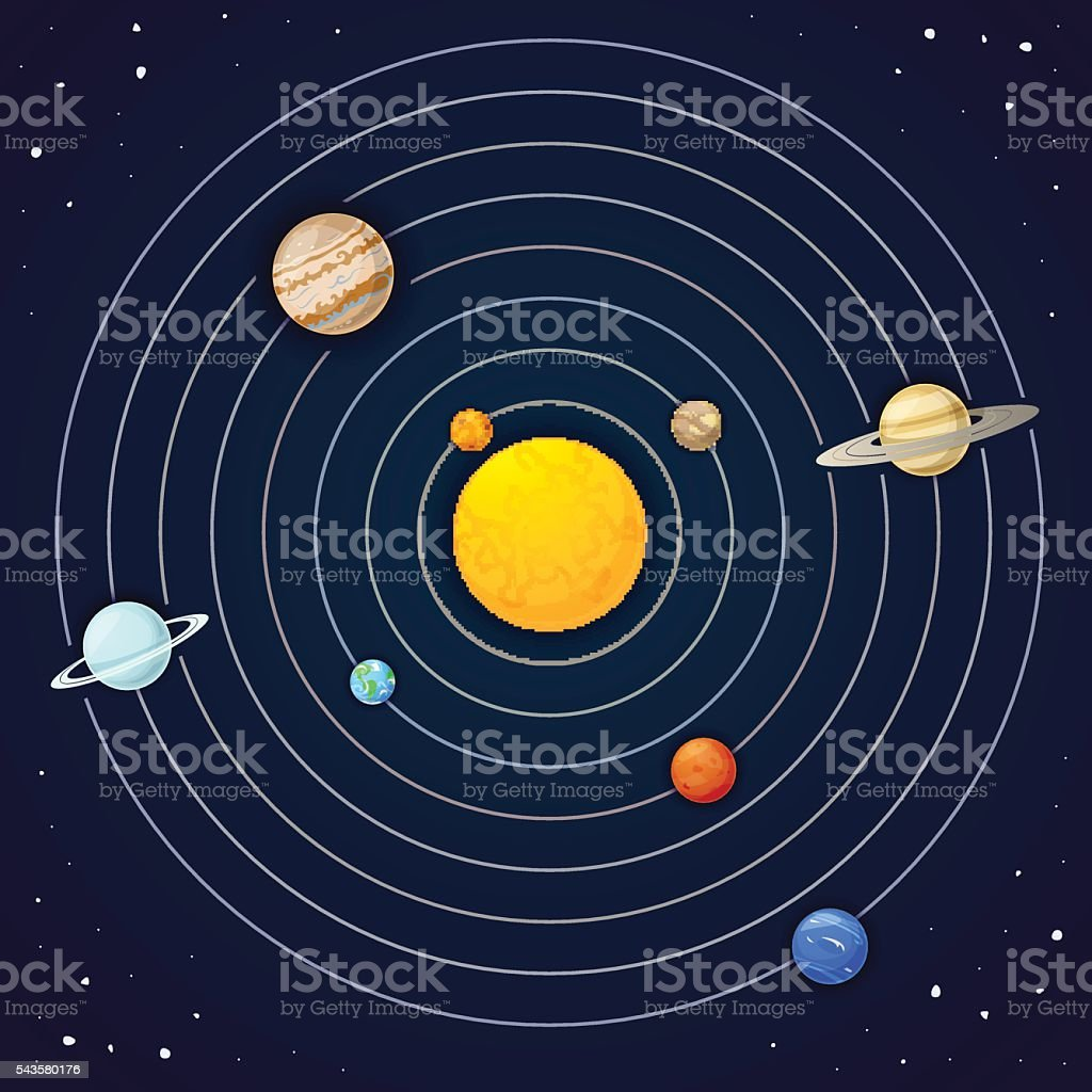 The planets of the solar system vector art illustration