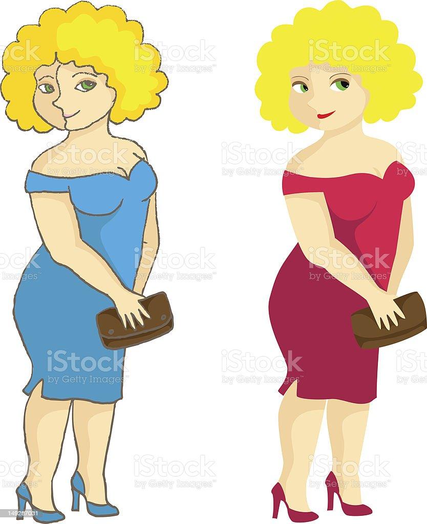 The plump lady vector art illustration
