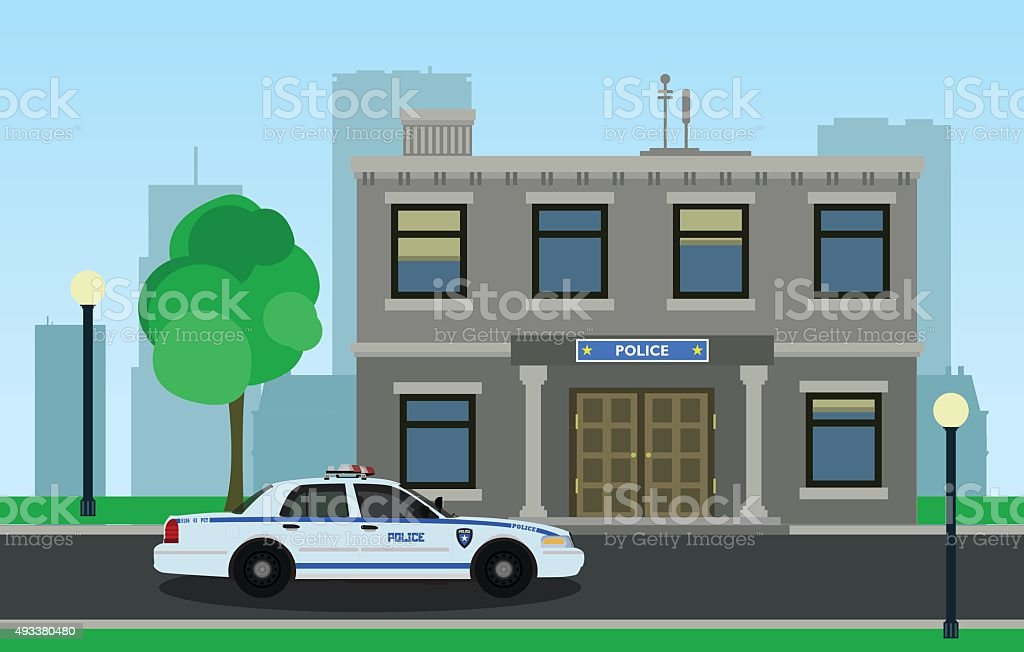 The police car opposite the of the police station. vector art illustration