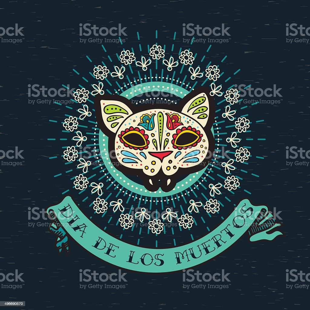 The poster  of Day of the Dead, vector art illustration